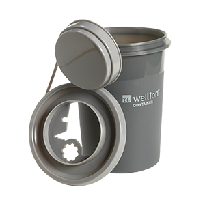 Wellion Sharps Container 0,7l: Used pen needles should be disposed of in a suitable sharps container, preferably in the puncture-proof Wellion disposal container.