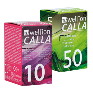 Wellion CALLA blood glucose test strips packaging