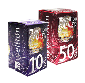 Wellion GALILEO Blood Glucose Teststrips are used with Wellion GALILEO blood glucose meters to determine quantitative blood glucose levels in fresh capillary whole blood. For self-testing by individuals at home or clinical settings by healthcare professionals. Picture