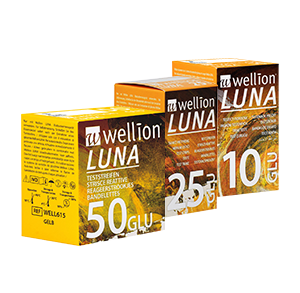 Wellion LUNA blood glucose teststrips. High-tech product. Consists of different layers. AUTO CODING technology. Handy size. The Sip-in technology prevents contamination with blood. For the Wellion LUNA blood glucose meter. 5 pieces and 10 pieces. Picture