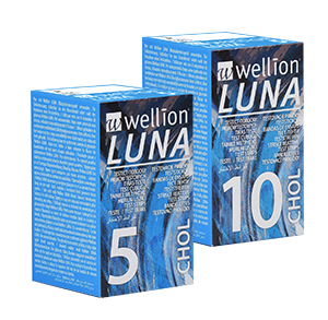 Wellion LUNA cholesterol test strips. High-tech product. Consists of different layers. AUTO CODING technology. Handy size. The Sip-in technology prevents contamination with blood. For the Wellion LUNA blood glucose meter. 5 pieces and 10 pieces. Picture