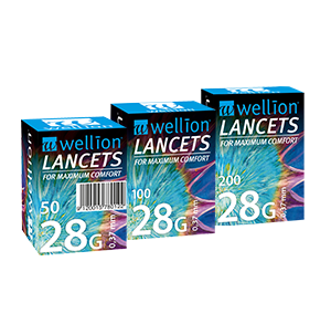Wellion LANCETS 28G - Lancets for particularly gentle blood sampling. Protective cap and perfect thin cut for nearly painless blood collection. 50, 100 and 200 pieces. Picture