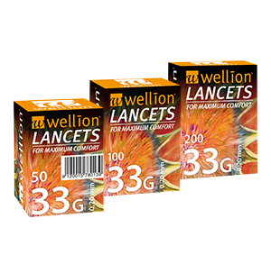 Wellion LANCETS 33G - Lancets for particularly gentle blood sampling. Protective cap and perfect thin cut for nearly painless blood collection. Extreme thin cut - perfect for children and people with sensitive skin. 50, 100 and 200 pieces. Picture