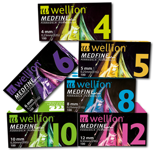 The extra fine-grained Wellion MEDFINE Plus pens with facet cut and thin silicone coating for effortless gliding provide maximum comfort. The extended inside diameter allows for optimal insulin flow. Different sizes. 4mm, 5mm, 6mm, 8mm, 10mm and 12mm. Picture