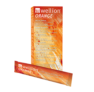 Wellion ORANGE Invert Sugar Syrup works extremely fast and brings immediate energy. The bags are easy to open. One bag contains 10-15g of carbohydrates. The best help when you are on the road or doing sports. Picture