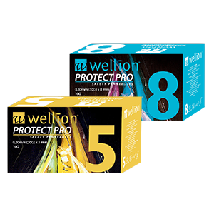 Wellion PROTECT Pro - safe insulin injection, no danger for needle stick injuries, compatible with all insulim pens, 5mm and 6mm box
