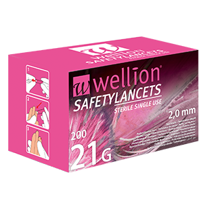 Wellion Safetylancets 21G - Ideal for vision problems, reduced fine motor skills and for the elderly. Fast and easy handling. Gentle and safe. Minimized pain due to ultra-sharp needle. Perfect for healthcare professionals, hospitals and nursing homes. Sterile and avoiding puncture injuries. Picture