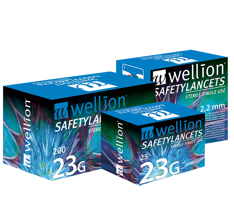 Wellion Safetylancets 23G - Ideal for vision problems, reduced fine motor skills and for the elderly. Fast and easy handling. Gentle and safe. Minimized pain due to ultra-sharp needle. Perfect for healthcare professionals, hospitals and nursing homes. Sterile and avoiding puncture injuries. Picture