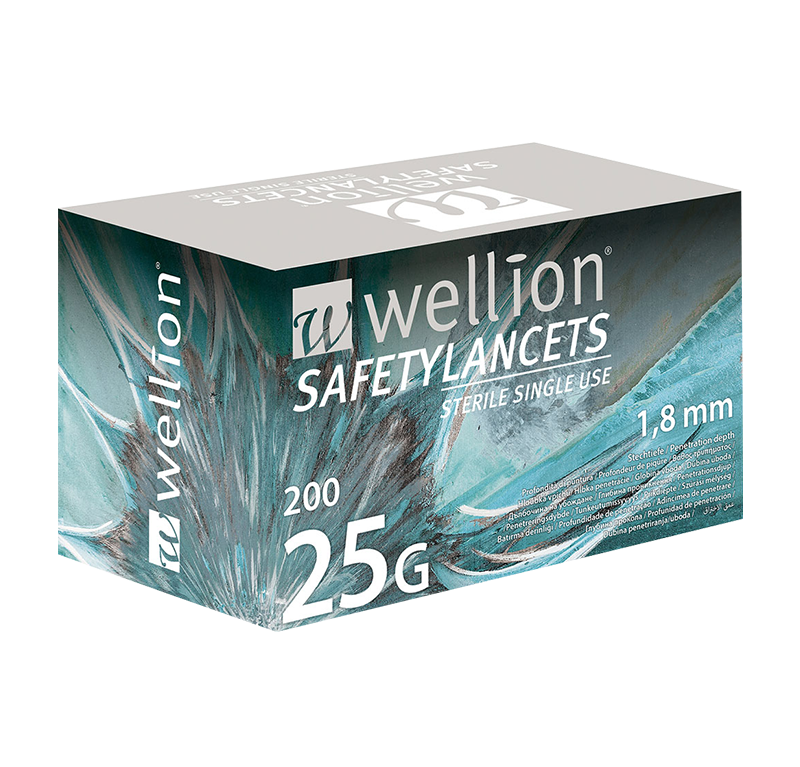 Wellion Safetylancets 25G - Ideal for vision problems, reduced fine motor skills and for the elderly. Fast and easy handling. Gentle and safe. Minimized pain due to ultra-sharp needle. Perfect for healthcare professionals, hospitals and nursing homes. Sterile and avoiding puncture injuries. Picture