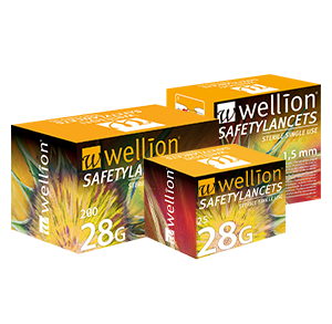 Wellion Safetylancets 28G - Ideal for vision problems, reduced fine motor skills and for the elderly. Fast and easy handling. Gentle and safe. Minimized pain due to ultra-sharp needle. Perfect for healthcare professionals, hospitals and nursing homes. Sterile and avoiding puncture injuries. Picture