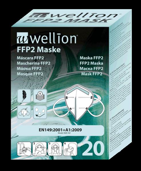 Wellion FFP2 Maske, 20 Stk pro Pkg, Schutz vor Aerosolen, MED TRUST