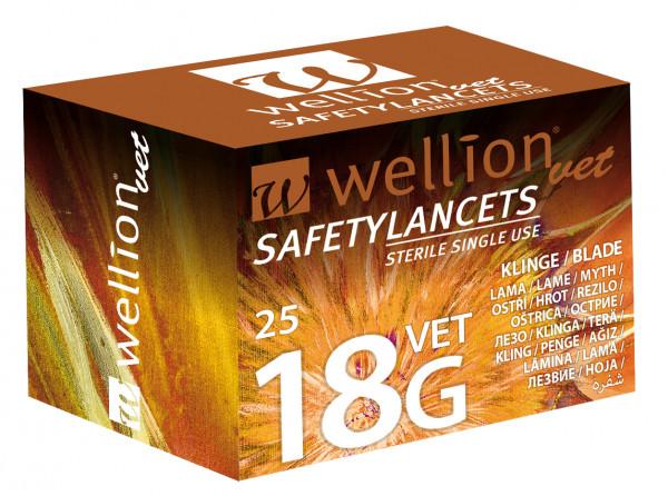 Wellion SafetyLancets 18G/3mm, Special Einmalsicherheitslanzette (nur Kühe)