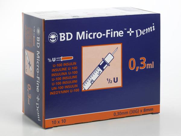 BD MicroFine+Demi 0,3ml, 100 Stk, 8 mm